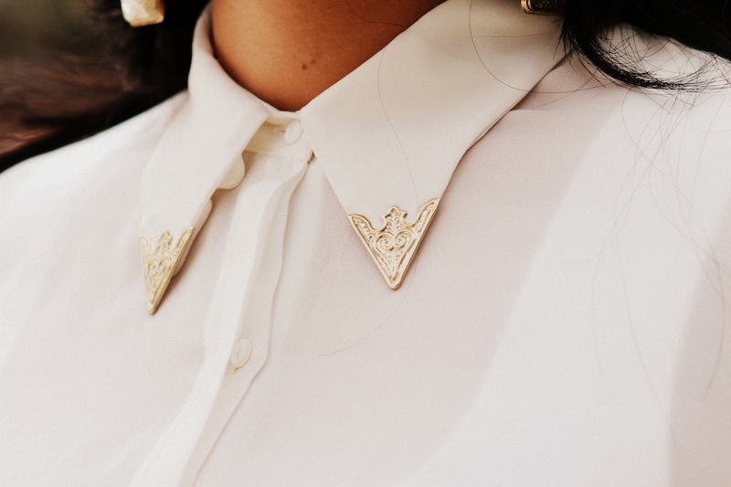 zara golden collar shirt
