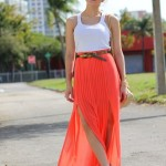 tangerine-pleated-skirt