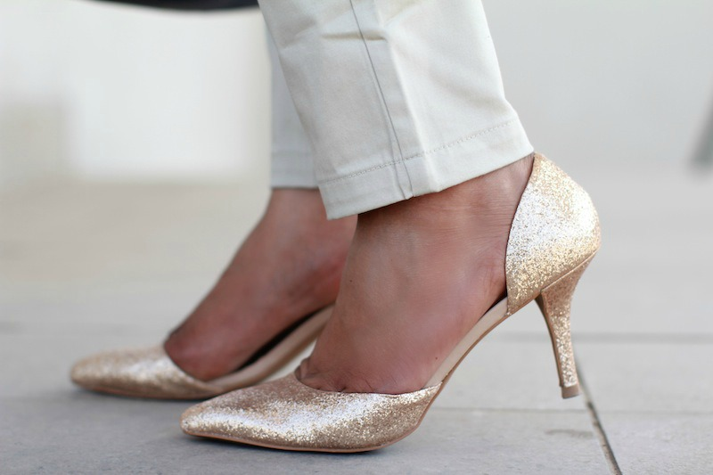 zara golden court shoes