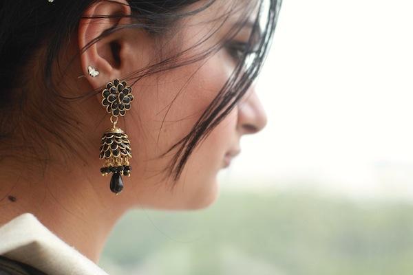 Black gold wedding earrings