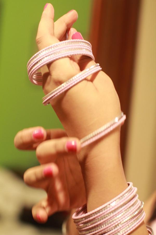 pink silver bangles