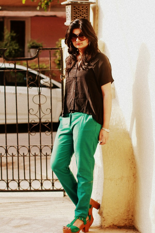 zara green pants