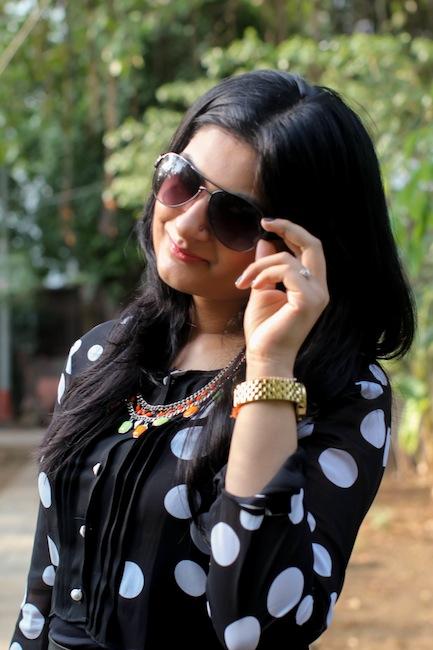 black polka dots outfit