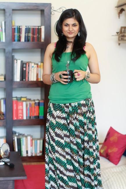 cottons green printed skirt