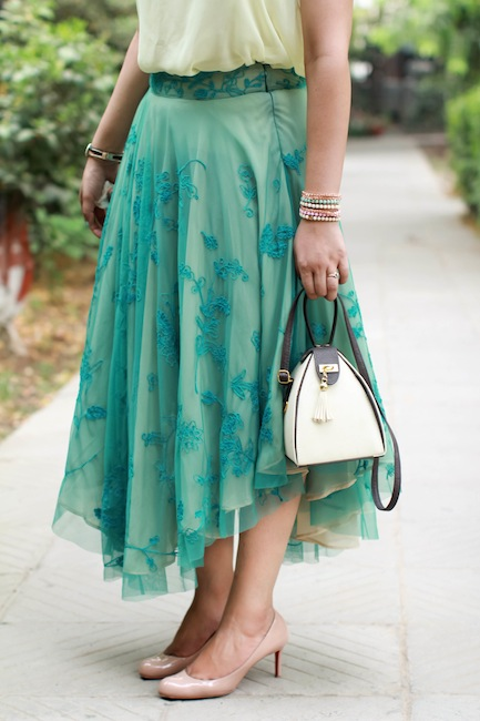 pastel green tulle skirt