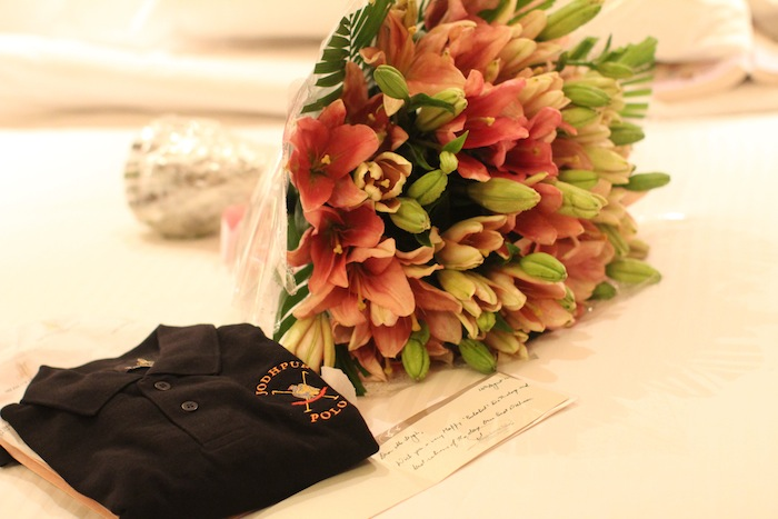 Flowers and gift from Umaid Bhawan