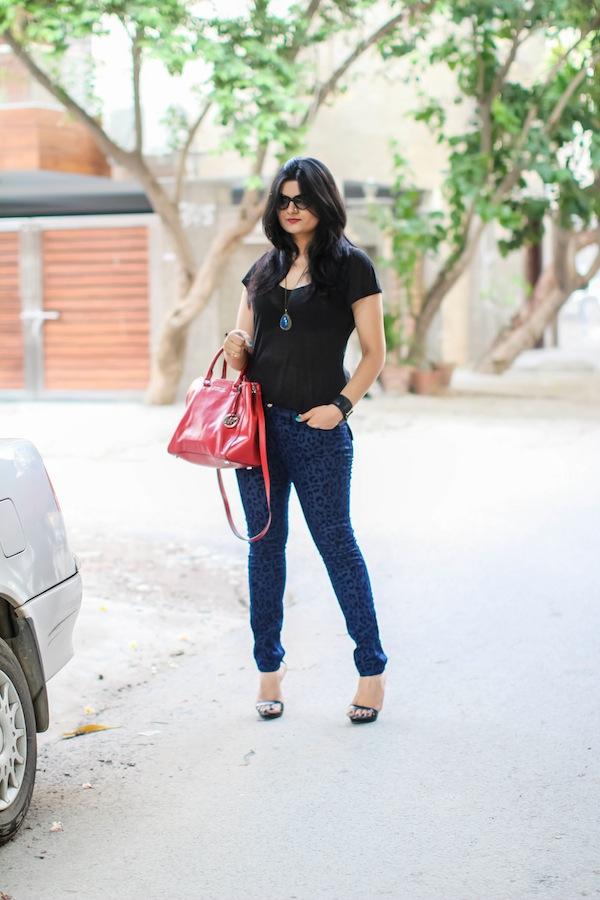 blue leopard print jeans