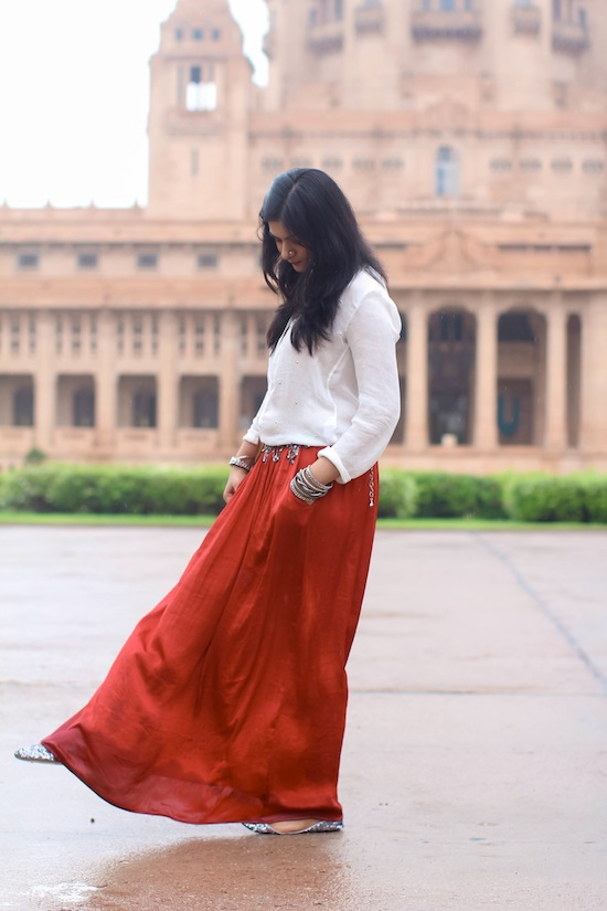 red skirt style Umaid Bhawan Palace : Day 2