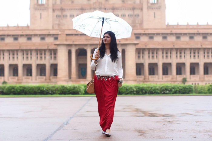 zara red maxi skirt Umaid Bhawan Palace : Day 2