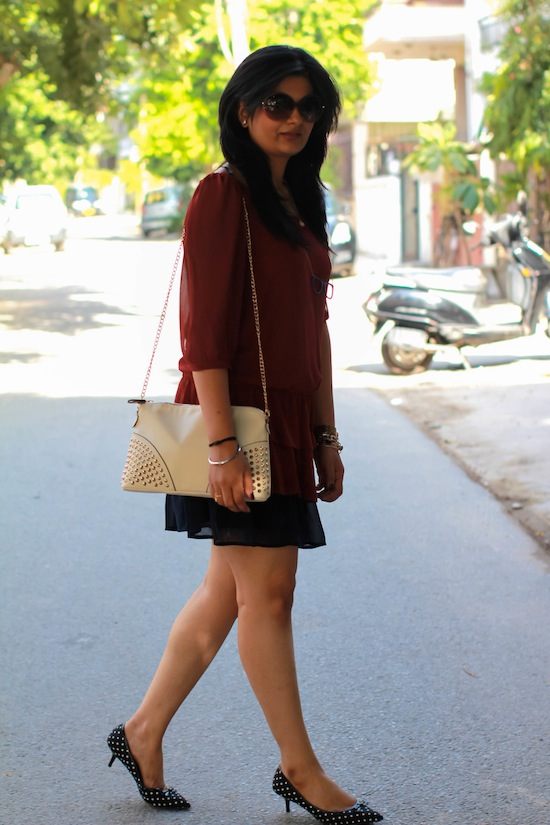 burgundy dress mango