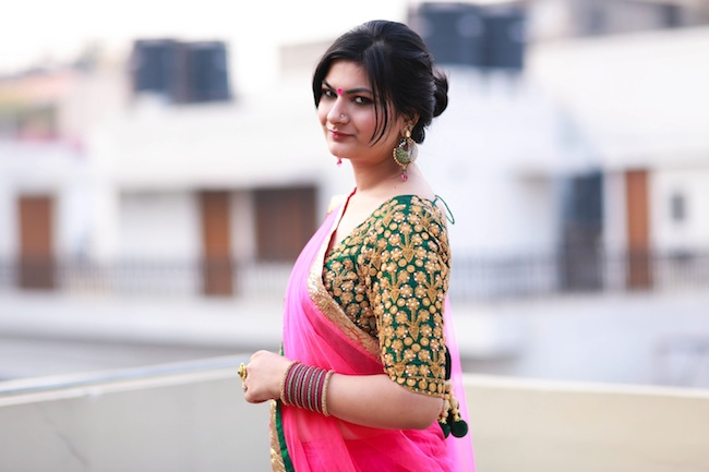 festive pink green outfit diwali