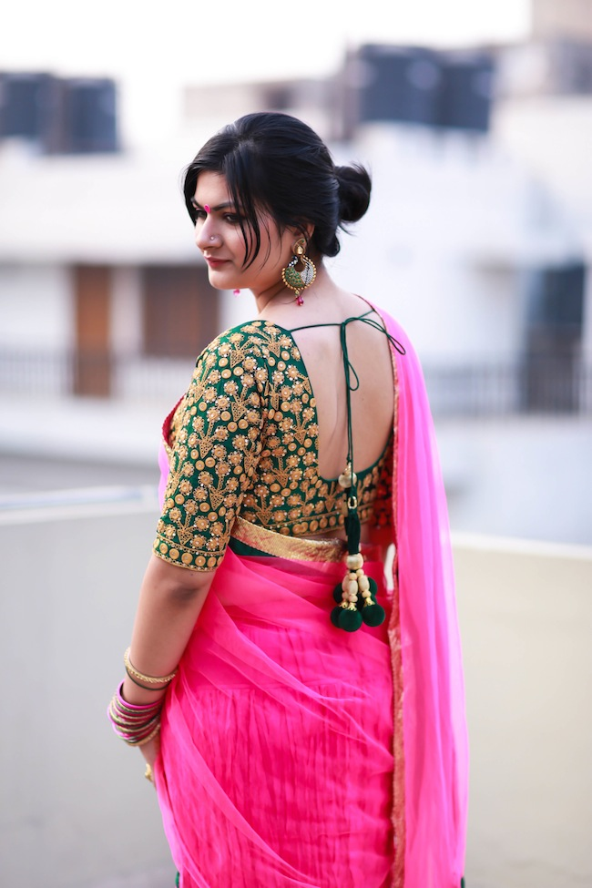 green pink lehenga Happy Diwali :))