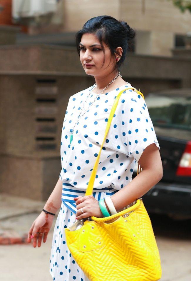 polka dots stripes dress