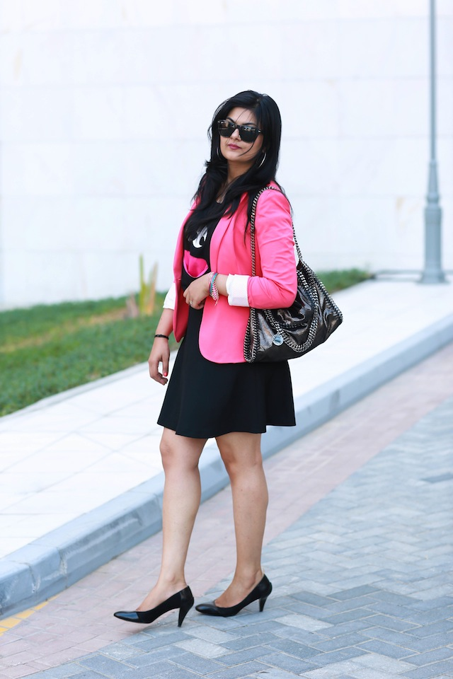 black pink outfit
