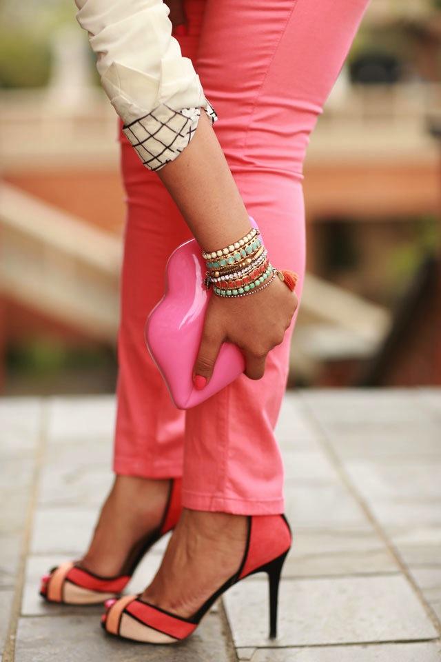 coral heels zara