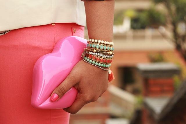 lulu guinness clutch pink