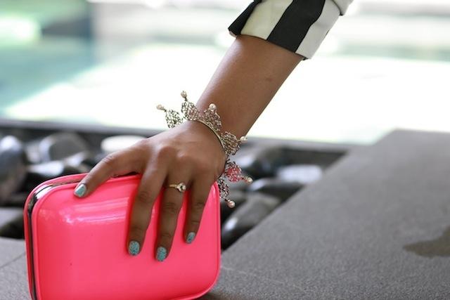 zara neon pink clutch
