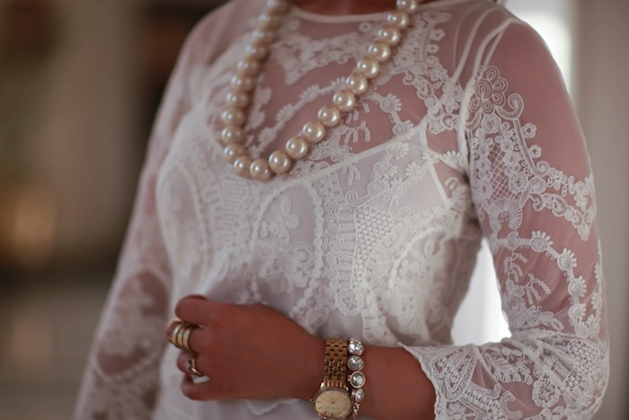 lace pearls fashion