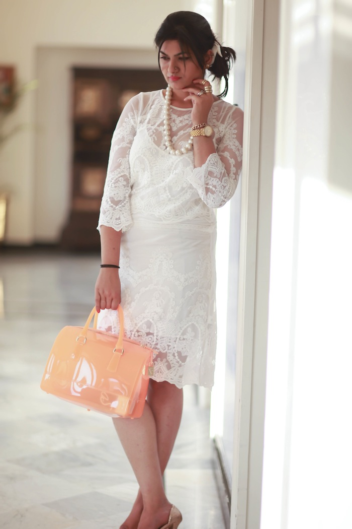 white lace dress neon bag