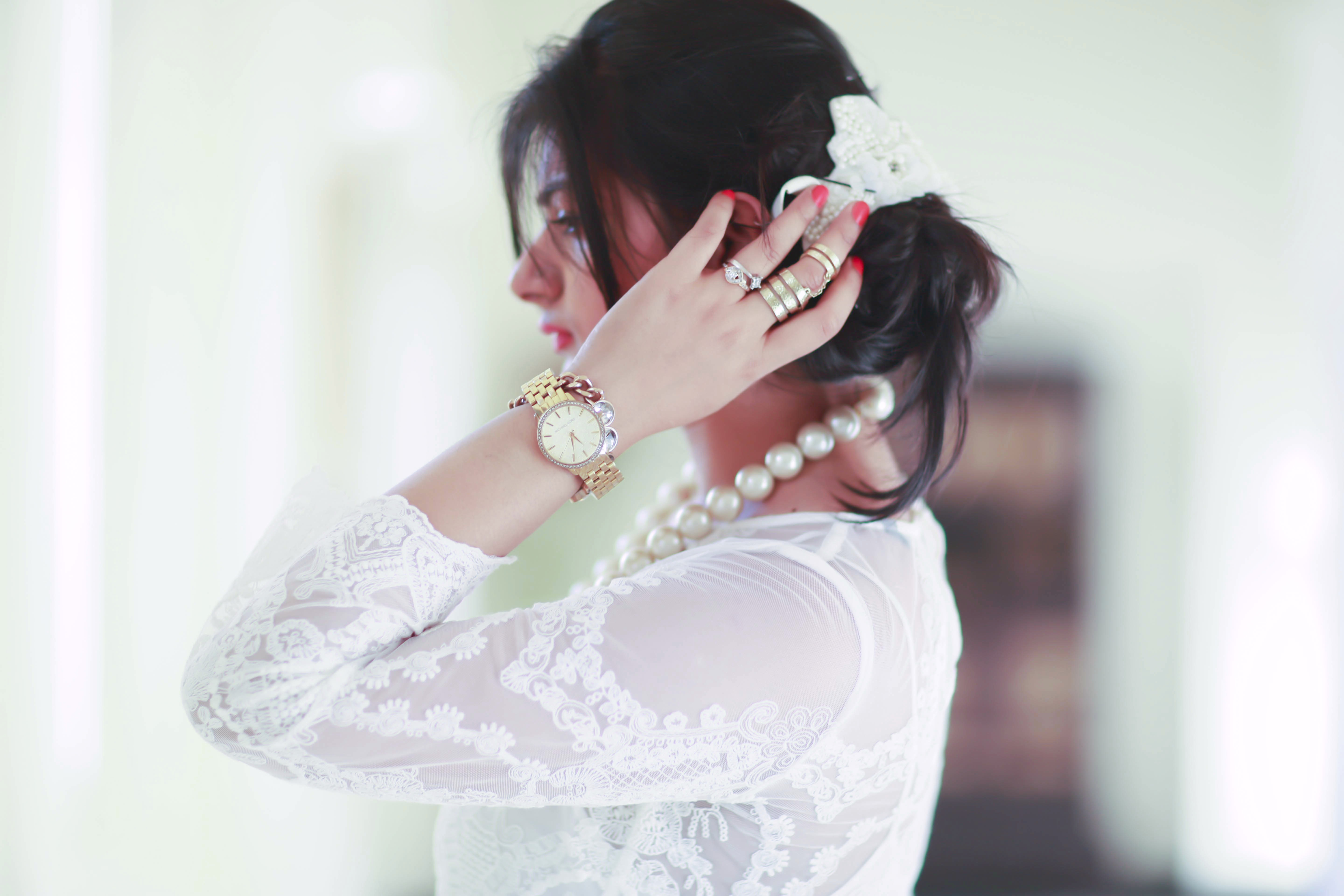 white lace dress pearls