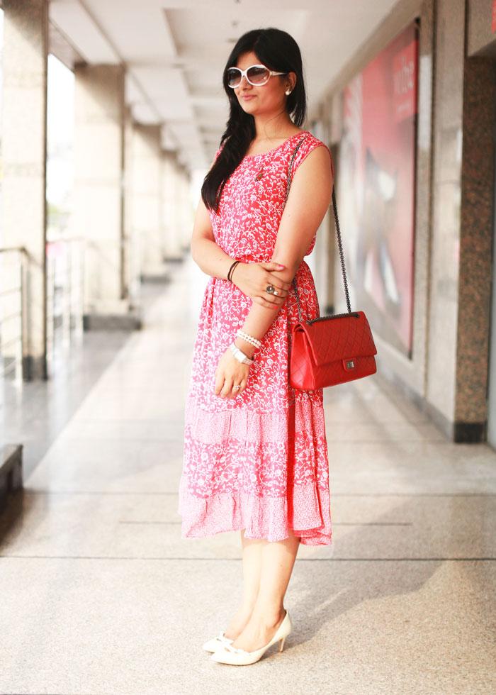 vintage red midi dress