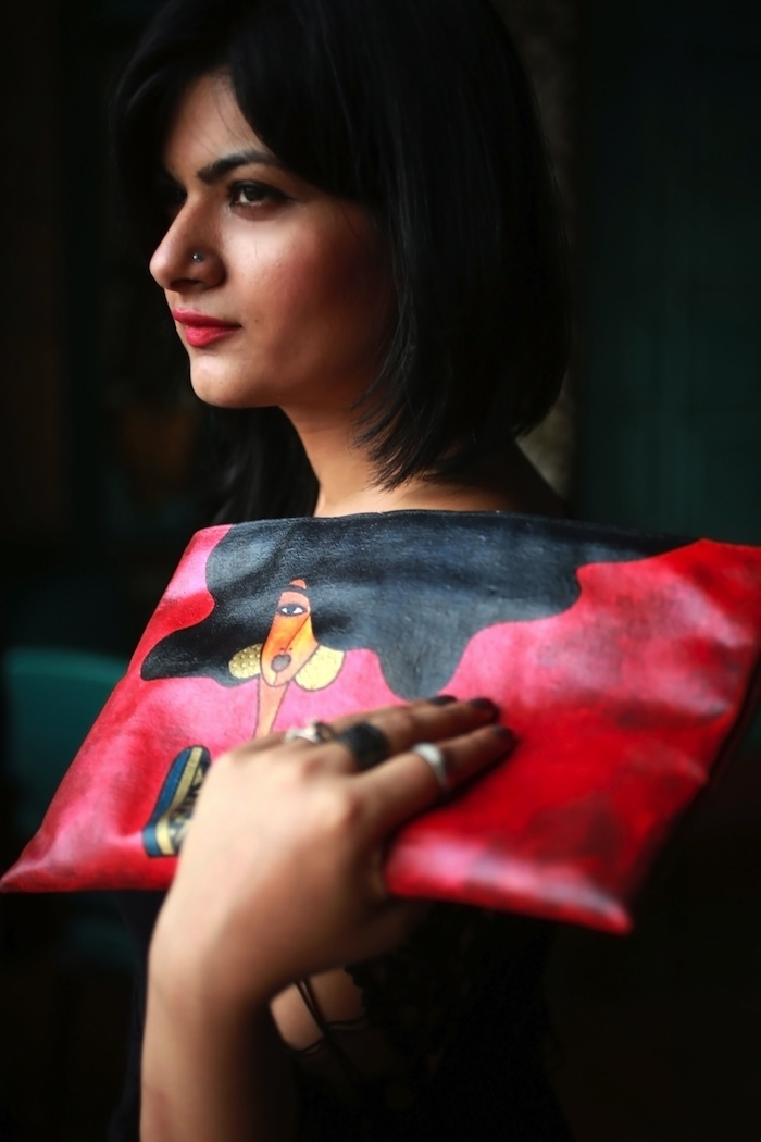 art meets fashion clutch red