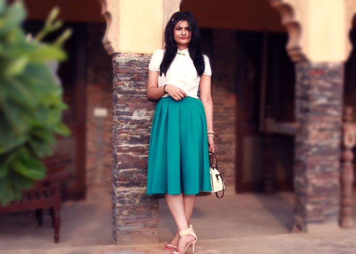 emerald green circle skirt fashion