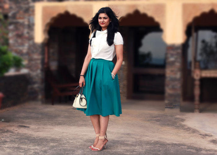 emerald green circle skirt