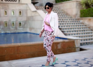 pink printed trousers