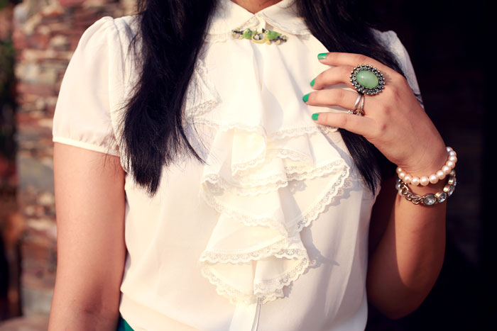 ruffles top white