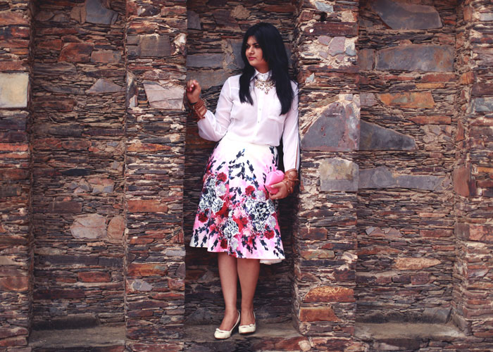 white pink floral skirt