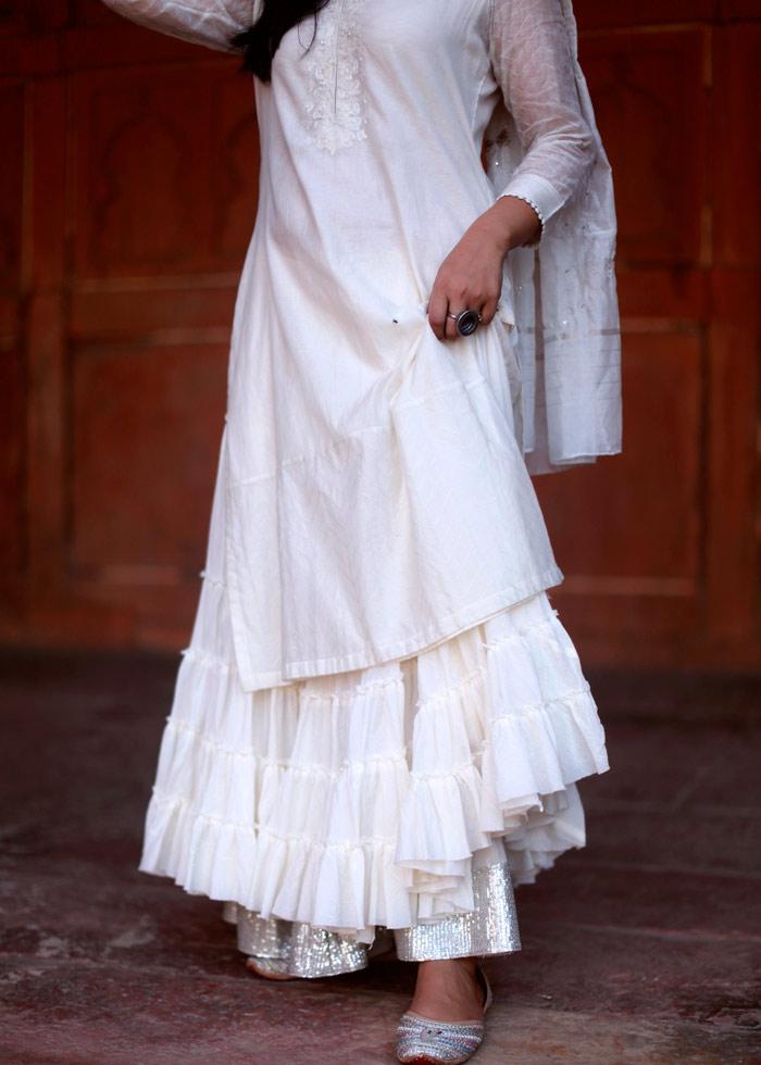 white zari outfit