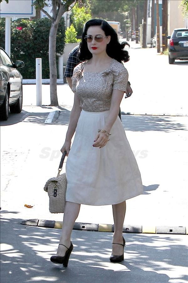 Dita Von Teese looks great while shopping in West Hollywood
