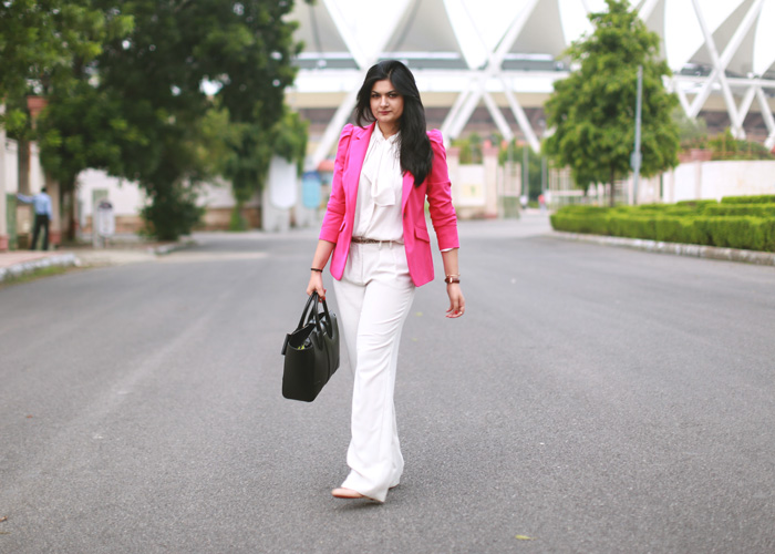 hot pink blazer fashion