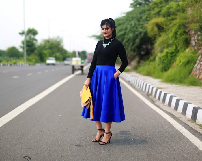 royal-blue-midi-skirt