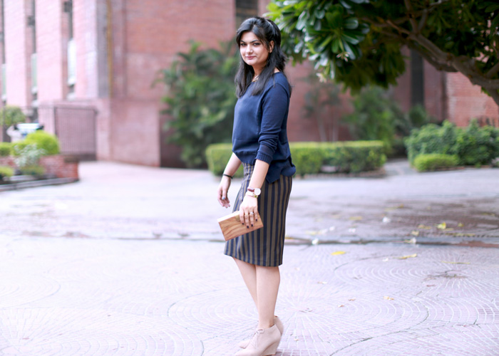zara vertical stripes skirt