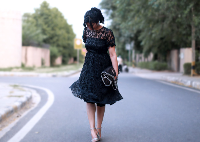 black vintage midi dress