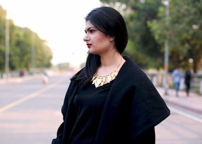 black coat fashion