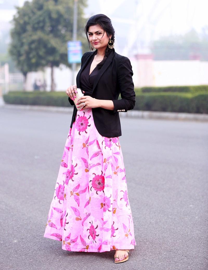 maxi dress with blazer