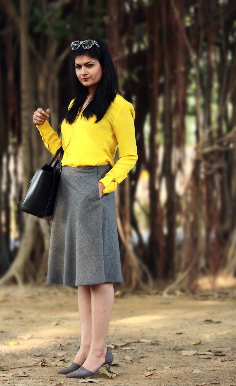 yellow silk shirt style
