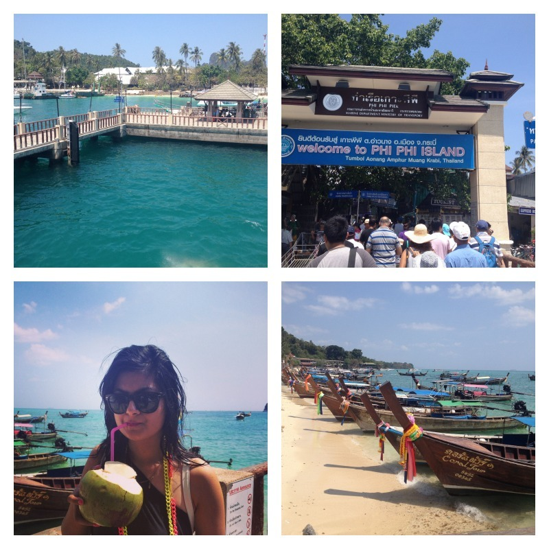 First view of Phi Phi island, welcome, loved the coconut water, the beautiful boats at the island