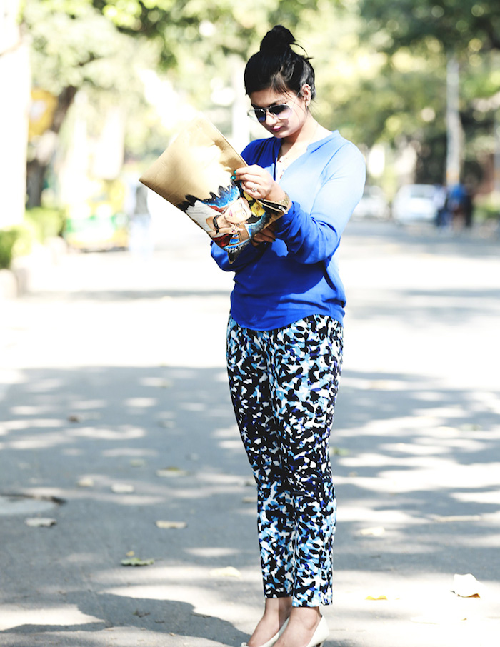 blue printed pants