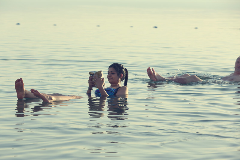 One of the most epic things I have done till date. : D  Reading book on the dead sea.