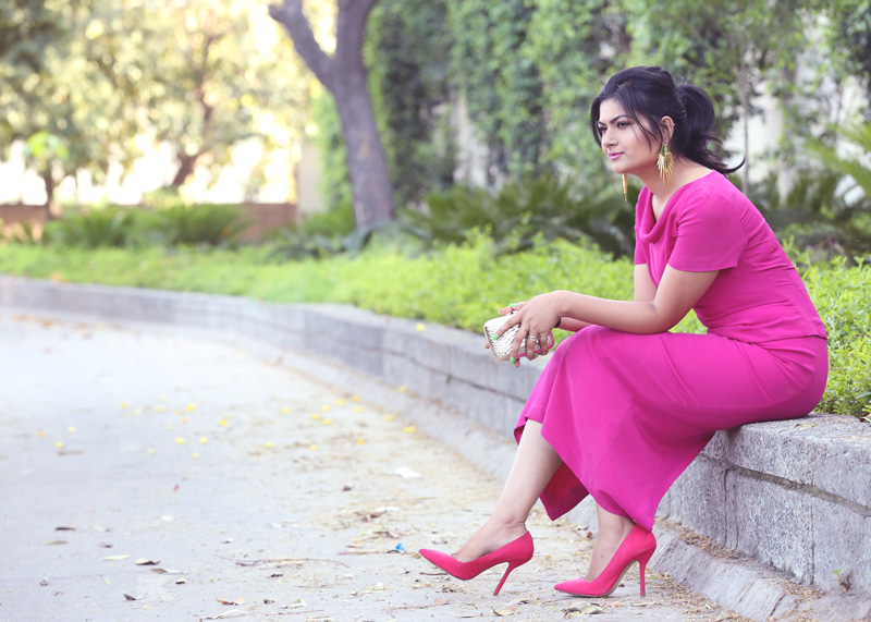 fuchsia pink pencil dress