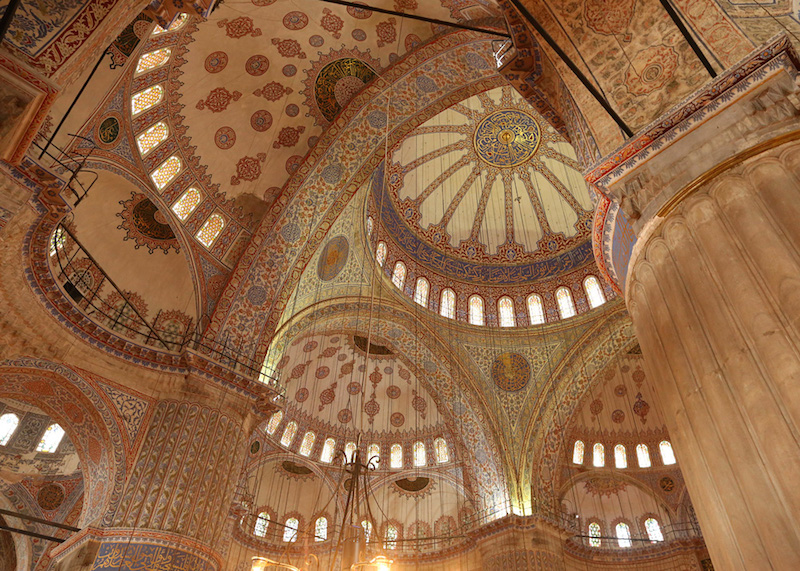 The Blue Mosque has one main dome, six minarets, and eight secondary domes.