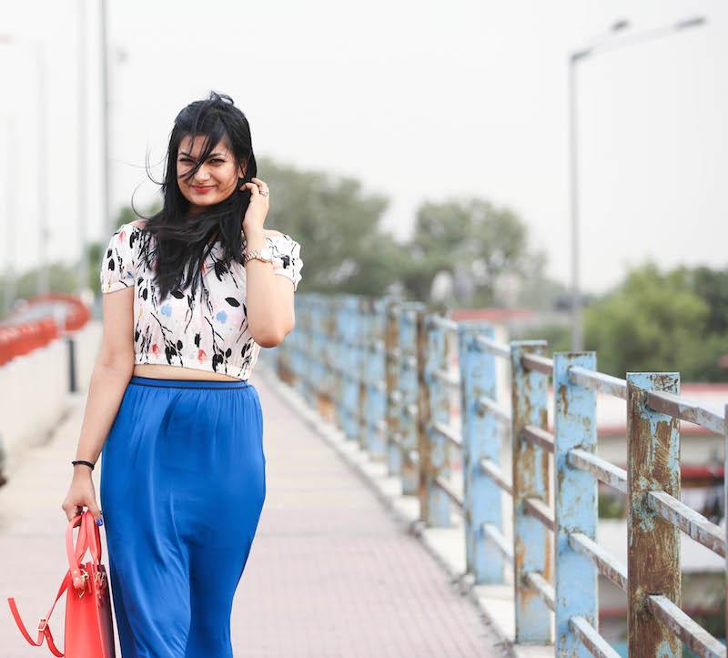 Cobalt blue maxi skirt outfit