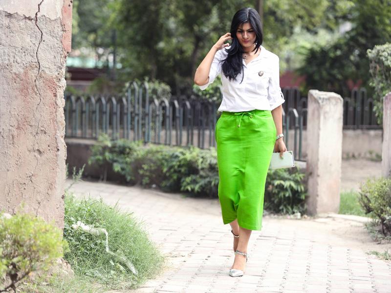 asos neon green skirt