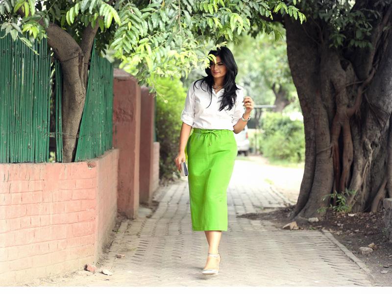 green skirt indian fashion