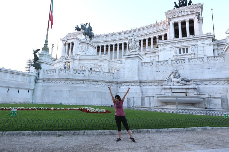 Checking out 'piazza de venezia' early morning . It  is a major circus and the central hub of Rome