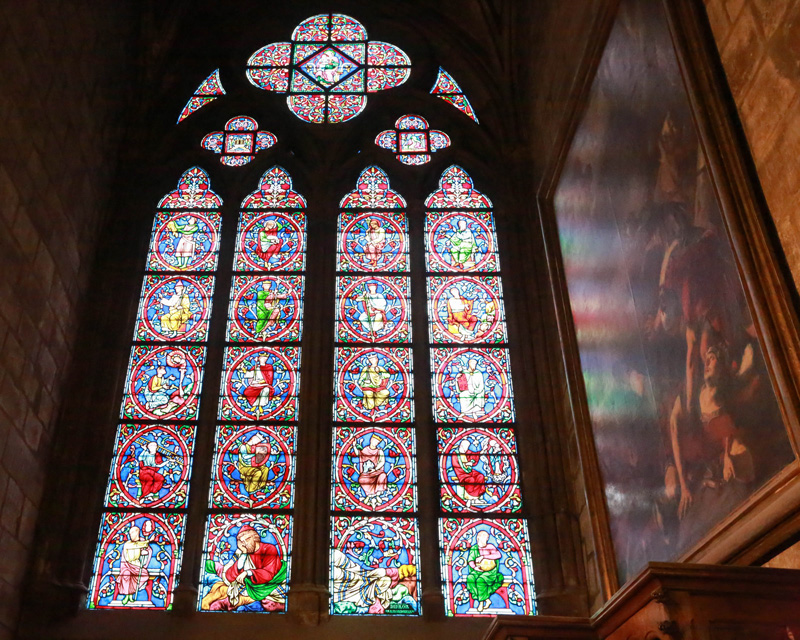 The beautiful windows inside the church!
